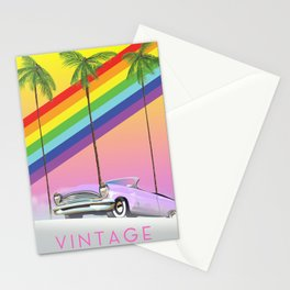 vintage rainbow auto poster. Stationery Cards