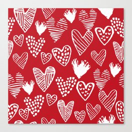 Herats red and white pattern minimal valentines day cute girly gifts hand drawn love patterns Canvas Print