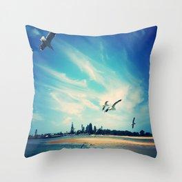 Flying Segulls Throw Pillow