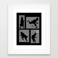tintin Framed Art Prints featuring Tintin, Silhouetted by Faellen