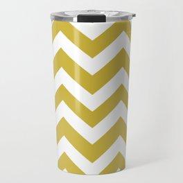 Old gold - beije color - Zigzag Chevron Pattern Travel Mug
