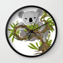 koala eating in tree Wall Clock