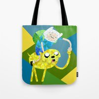 finn and jake Tote Bags featuring Jake and Finn by victorygarlic - Niki