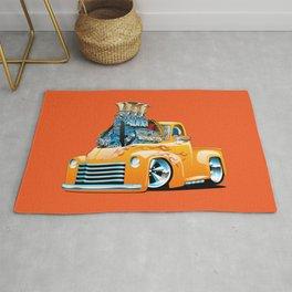 American Classic Hotrod Pickup Truck Cartoon Rug