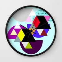 decal Wall Clocks featuring geometric pattern by haroulita