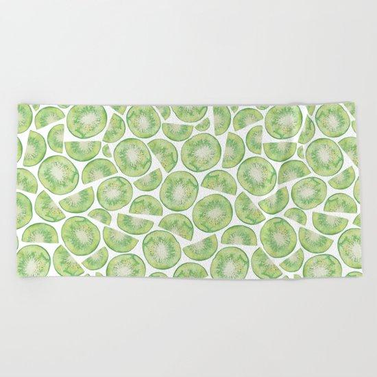 Watercolour Kiwi Fruit Beach Towel