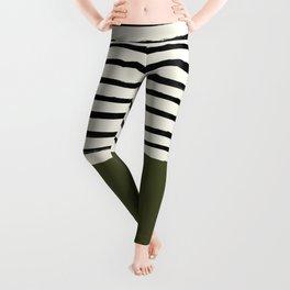 Olive Green x Stripes Leggings