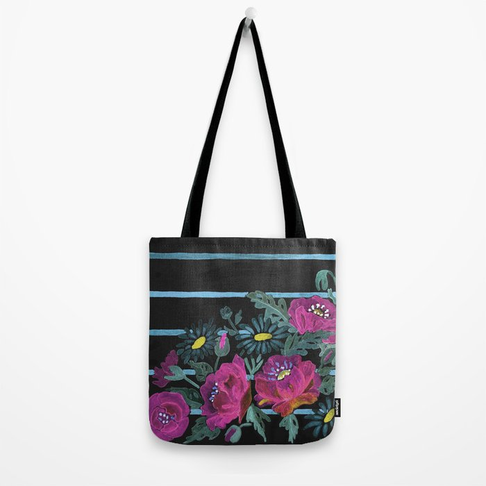 Watercolor Poppies on a striped background. 2 Tote Bag