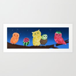 Fruit Owls Art Print