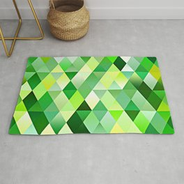 Lime Green Yellow White Diamond Triangles Mosaic Pattern Rug