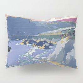 Mid Century Modern Vintage Travel Poster Art British Railways Train Landscape Colorful Pop Art Pillow Sham