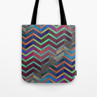 holographic Tote Bags featuring Color Transition Chevron by Klara Acel