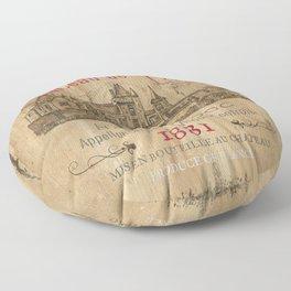 Barrel Wine Label 1 Floor Pillow