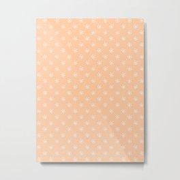 White on Deep Peach Orange Snowflakes Metal Print