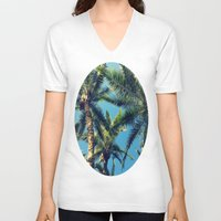 palm tree V-neck T-shirts featuring Palm Tree by Jillian Stanton