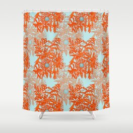 Orange and blue floral pattern Shower Curtain