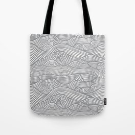 Waves in Charcoal Tote Bag