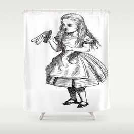 Alice Drink Me Bottle Alice in Wonderland in Black with Transparent Background Shower Curtain