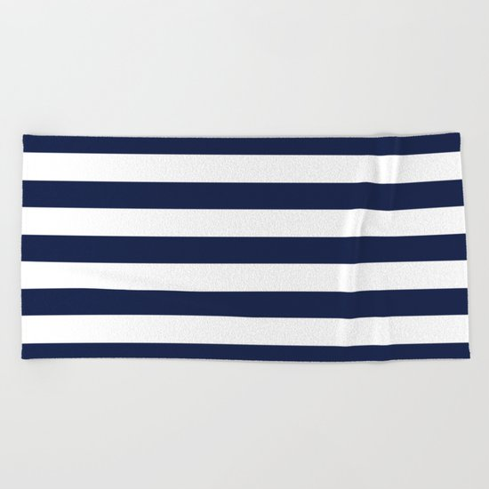 Nautical Navy Blue and White Stripes Beach Towel
