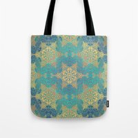 henna Tote Bags featuring Blue Henna by Truly Juel
