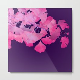 Pink Gingko Biloba Leaves on Aubergine Metal Print