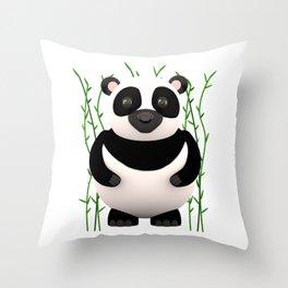 Cartoon Panda Among Bamboos Throw Pillow