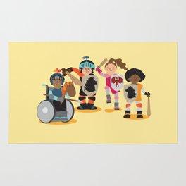 Knight kids - yellow background Rug