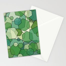 Converging Hexes - Green and Yellow Stationery Cards