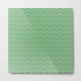 Green and White Christmas Wavy Chevron Stripes Metal Print