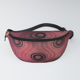 Bold Circle Rings and Wavy Lines on Abstract Blurred Red Patch Background Fanny Pack