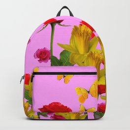 DECORATIVE YELLOW BUTTERFLIES, RED ROSES, DAFFODILS SPRING FLOWERS Backpack