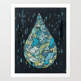 If heaven were a drop of rain Art Print