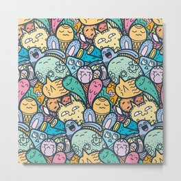 Doodle Kawaii Monster Pattern Design Metal Print