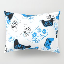 Video Game White and Blue Pillow Sham