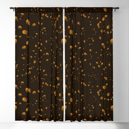 Brown iridescent drops on a black background in nacre. Blackout Curtain