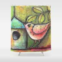 shopping Shower Curtains featuring House Shopping by Terri Stegmiller