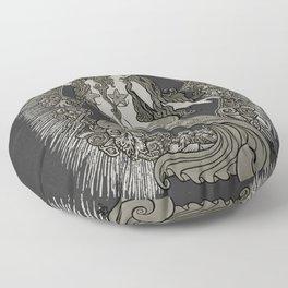 Neo Classic Mermaid Siren Sepia Floor Pillow