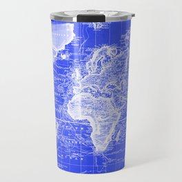 Vintage Map of The World (1833) Blue & White Travel Mug