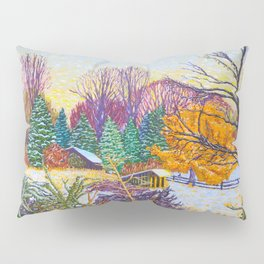 Horse Shed in Winter Pillow Sham