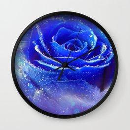Gracious Gorgeous Blue Rose Blossom Galaxy Ultra HD Wall Clock