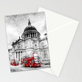 St Paul's Cathedral London Snow Stationery Cards