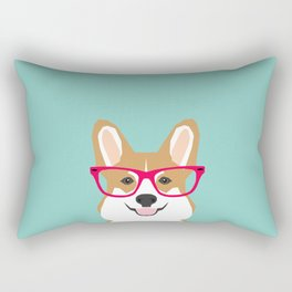 Teagan Glasses Corgi cute puppy welsh corgi gifts for dog lovers and pet owners love corgi puppies Rectangular Pillow