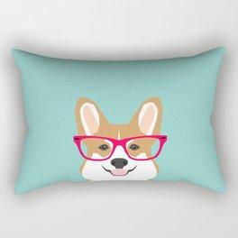 Teagan Glasses Corgi cute puppy welsh corgi gifts for dog lovers and pet owners love corgi puppies Rectangular Pillow