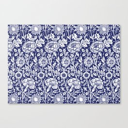 "William Morris Floral Pattern | ""Pink and Rose"" in Navy Blue and White Canvas Print"