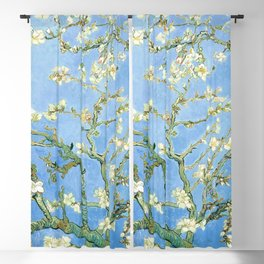 Van Gogh Almond Blossoms, Light Blue Blackout Curtain