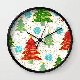 Christmas trees and snowflakes Wall Clock
