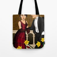 downton abbey Tote Bags featuring Downton Nouveau by mikaelak