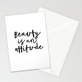 Beauty is an Attitude black-white typography poster design modern canvas wall art home decor Stationery Cards