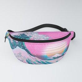 Vaporwave Aesthetic Great Wave Off Kanagawa Synthwave Sunset Fanny Pack