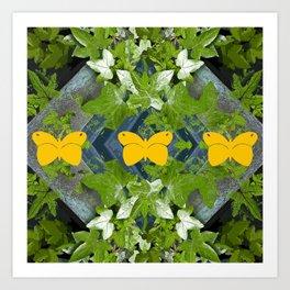 Three yellow butterflies Art Print